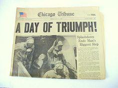 Moon Landing, USA Space Program, Apollo, Mercury, 14 Newspapers Shepherd, Glenn