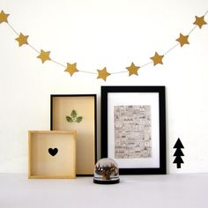 Gold Star Garlad, Paper Star Garland, Wall decor