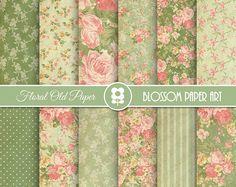 Papeles Digitales Vintage Floreados, Verde, Papeles de Rosas, Papeles Decorativos para imprimir, invitaciones, artesanías, decoupage - 1969
