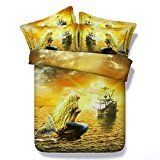 printed mermaid bedding sets queen king twin size gold luxury comforter duvet cover ocean ship bed sheets home decor 3d Bedding Sets, King Size Bedding Sets, King Size Duvet Covers, Bed Duvet Covers, Comforter Sets, Duvet Cover Sets, Pillow Shams, Mermaid Comforter, Mermaid Quilt