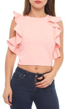 Lila Roses Rüschen Shirt in Rosa