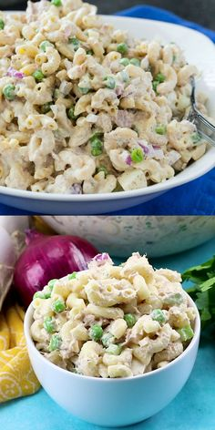 Tuna Macaroni Salad- is creamy and delicious with lots of hard-boiled egg, peas, celery, onion, and sweet pickle relish. salad with egg mayonnaise Best Salad Recipes, Potluck Recipes, Seafood Recipes, Dinner Recipes, Cooking Recipes, Healthy Recipes, Seafood Appetizers, Seafood Salad, Cold Pasta Recipes