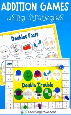 Addition games make learning addition strategies fun. Place in your math centers to help consolidate the mental math strategies you have been teaching to your first and second grade students. #addition #additionstrategies #additiongames