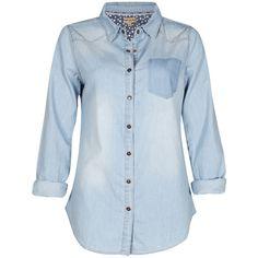 Beulah Vintage Inspired Denim Shirt ($76) ❤ liked on Polyvore