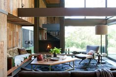 Achieving Best Interior Design Inspiration: Gorgeous Interior Design Inspirations As Front Room Ideas With Unique Coffee Table With Modern Vases Also Brown Velvet Sofa Sectional Sofa With Round Coffee Table Also Modern Floor Lamps ~ surrealcoding.com Interior Inspiration