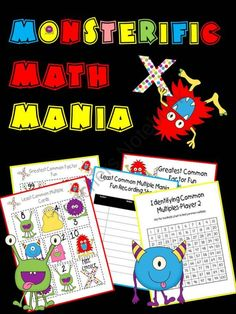 Monsterific Math Mania includes two fun, fast-paced partner games. Least Common Multiple Mania and Greatest Common Factor Fun allow collaborative pairs ample practice identifying least common multiples and greatest common factors.