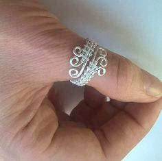 Adjustable wire-wrapped thumb ring adjustable ring silver