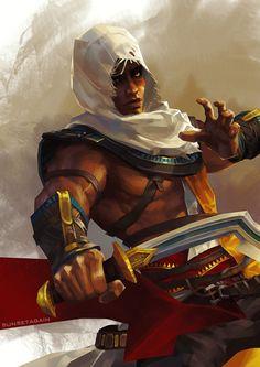 moc poc mixed latino latinx black multicultural male fighter warrior gladiator man human fantasy character art