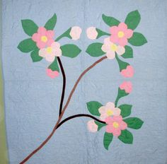 Vintage Appliqued Cherry Blossom Quilt from turtlecreek on Ruby Lane