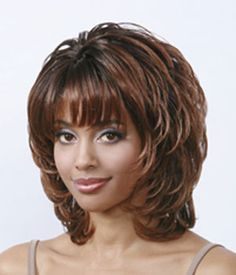 Sketchy Short Wavy Brown Side Bang African American Wigs for Women 12 Inch Medium Hair Cuts, Short Hair Cuts, Medium Hair Styles, Curly Hair Styles, Short Wavy, Medium Layered Hair, African Hairstyles, Wig Hairstyles, Haircuts