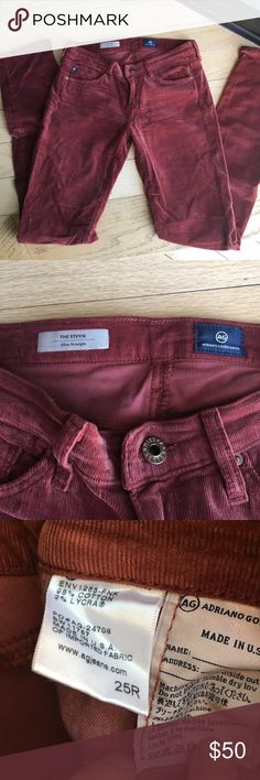 AG slim straight Stevie cords. Burnt red. 25R. Gently used, beautiful color, great condition, cozy slim fit. Jeans Skinny