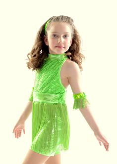 Lime Green Tap Jazz Recital Dance Costume | eBay