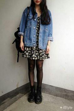 Floral dress, tights, doc martens, jean jacket