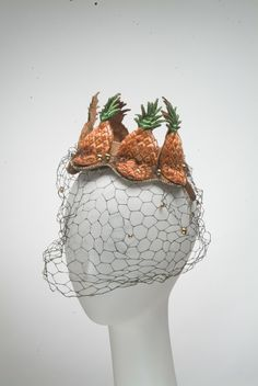 Hat (Pineapple), Bes-Ben (American, 1898-1988): ca. 1940-1949. [I have a new goal to get to the Indianapolis Museum of Art and see this amazing hat. Wait - it's not on view. Well, it's their fault. I shall have to hatch a plot to steal it then.]