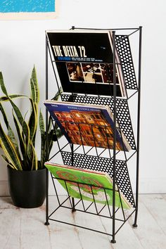 Vinyl is back ( actually, never left) - but how do you store your collection in a stylish manner? With the Corner Store Record Rack from Urban Outfitters, of course . Metal Storage Racks, Lp Storage, Vinyl Storage, Vertical Storage, Paper Storage, Storage Ideas, Metal Rack, Vinyl Record Rack, Record Holder