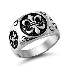 Stainless Steel Fleur De Lis Ring Sizes 9 to 13 -