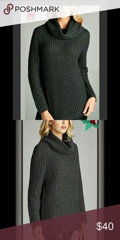 Oversized charcoal turtle neck sweater S, M, L nwt Oversized charcoal turtle neck sweater S, M, L nwt. 100% acrylic. Fashionomics Sweaters Cowl & Turtlenecks