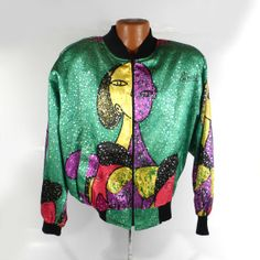 Picasso Windbreaker BomberJacket Vintage 1990s by purevintageclothing