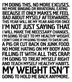 No excuses!! Don't hold back!!
