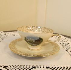 Bavaria Hutschenreuther Arzberg Cup and Saucer 1920s Hearts Designs 1