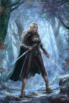 f High Elf Ranger Medium Armor Cloak Dual Swords female Deciduous forest Path Aeswin Ainensiel by Andrey Vasilchenko ArtStation lg Fantasy Warrior, Elf Warrior, Fantasy Races, High Fantasy, Fantasy Women, Fantasy Girl, Fantasy Character Design, Character Inspiration, Character Art
