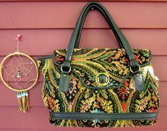 Vintage Boho Tapestry Large Colorful Carpet Bag Handbag 1970s/60s