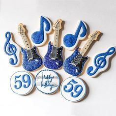 Reposting because this pic is better love these glittery guitars Sugar Cookie Frosting, Royal Icing Cookies, Cupcake Cookies, Sugar Cookies, Cupcakes, 60th Birthday Cake For Men, Birthday Cookies, Fancy Cookies, Custom Cookies