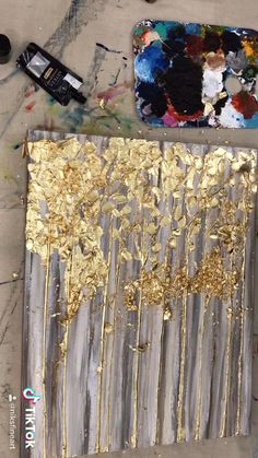 Gold Leaf Trees/ How to create Texture Impasto Painting/ Palette Knife Painting/ Landscape Painting Abstract Painting Techniques, Texture Painting, Acrylic Paintings, Abstract Painting Modern, Contemporary Paintings, Pour Painting, Painting Art, Diy Canvas Art, Diy Wall Art