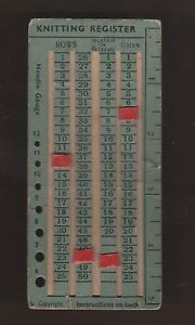 1940's KNITTING REGISTER With Needle Gauge & Measure WILBEE SERIES No W2 WWII