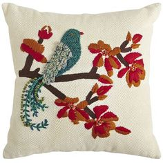 Seraphina Bird on a Branch Pillow (on clearance!) | Pier 1| Get up to 8.6% Cashback when you shop with your DubLi Membership! Not a member? Sign up FOR FREE today! www.downrightdealz.net