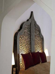 Riad Farnatchi Marrakech - Suite 5 - Hand made back lit bed Moroccan Bedroom Decor, Moroccan Bedding, Morrocan Decor, Moroccan Stencil, Moroccan Furniture, Moroccan Interiors, Moroccan Design, Arabic Decor, Islamic Decor