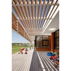 Kindergarten in Neufeld    SOLID Architecture    I love the canopy!