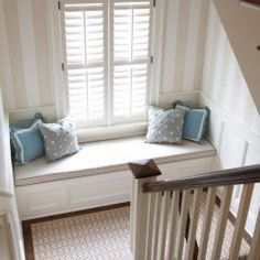 window seat... reminds me of my great grandparents' farm house (just missing the grandfather clock)