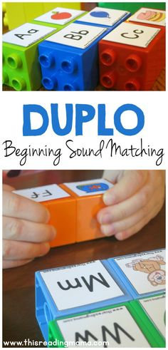 Sound Matching LEGO Game - great activity for preschool, kindergarten for alphabet letter sounds in homeschool. This could easily be adapted to work on phonemic awareness too! Preschool Letters, Learning Letters, Kindergarten Literacy, Preschool Learning, Teaching Letter Sounds, Alphabet Games For Kindergarten, Preschool Printables, Early Literacy, Literacy Centers