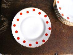 Vintage Polka Dot Dessert or Salad Plates Set of 6 by AtticSpider