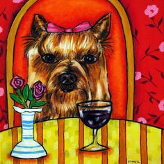 yorkshire terrier wine picture animal dog art tile