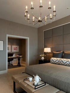 Guest Bedroom... use current taupe duvet and match colors on walls... white lamp shades... need to get white vase and white flowers and maybe a bench for foot of bed