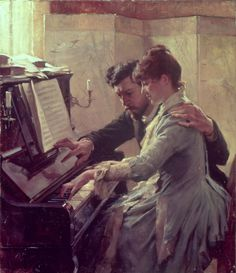 https://flic.kr/p/bYbnu9 | Albert Gustaf Aristides Edelfelt | At the piano. Finnish, 1854-1905