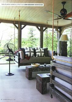 rustic wood patio and swing - summer porch and patio decor, design ...