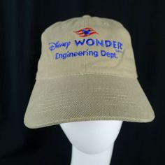 261c9ce31c4252 Disney Wonder Adjustable Hat Tan With Red & Blue Embroidery Engineering  Dept. #HeadmasterInc · Baseball Caps ...