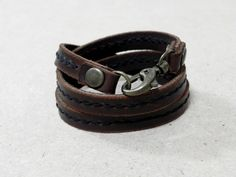 Triple Round Brown Leather Bracelet Wrap Leather Bracelet with Metal Alloy Clasp Hand Stitched by BeadSiam on Etsy