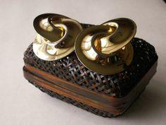 Massive Gold Tone Clip On Interlocking Circles by dazzledbyvintage