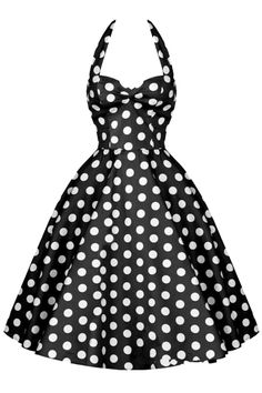 The swing dress is featuring halter neckline, sleeveless, backless, polka dots printing and back zipper clsoure.
