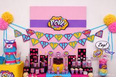 Girl Superhero Party!   See more party ideas at CatchMyParty.com!  #partyideas #superhero