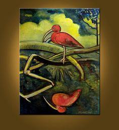 Scarlet Ibis  30 x 40 inch Original Oil Painting by ElizabethGraf