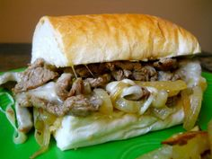 Philly Cheese Steak Sandwich. These are soooooo good. We did use the Jimmy John's day old bread like the recipe says.
