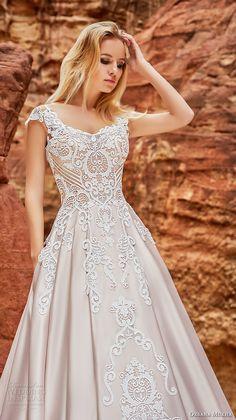 oksana mukha 2018 bridal cap sleeves v neck heavily embellished bodice romantic princess a line wedding dress corset back chapel train (isadora) zv -- Oksana Mukha 2018 Wedding Dresses