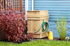 How to Build a Rain Barrel Enclose a plastic bin with stock lumber to make a more attractive water-wise garden feature Small Backyard Gardens, Backyard Garden Design, Backyard Landscaping, Outdoor Gardens, Water Barrel, Garden Trellis, Tree Garden, Garden Pots, Water Wise