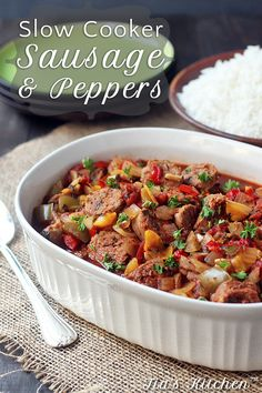 Wonderful and super easy Slow Cooker Sausage and Peppers. Throw it all in before you leave the house, and come home to a great dinner. via @tiaskitchen