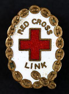 Red Cross Link Enamel Badge